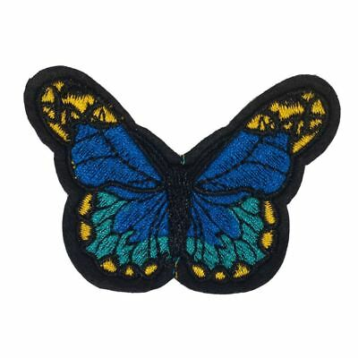 Blue Dots Butterfly (Iron On) Embroidery Applique Patch Sew Iron Badge