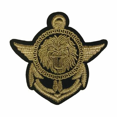 Regal Lion Anchor Crest Badge (Iron On) Embroidery Applique Patch Sew Iron Badge