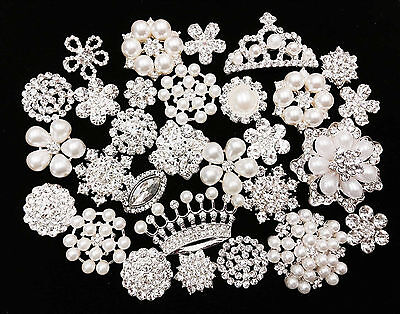 10 pcs Mixed Silver Flat Button Crystal Pearl Rhinestone Embellishment Button