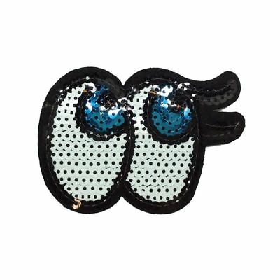 Sequin Eye Blue (Iron On) Embroidery Applique Patch Sew Iron Badge