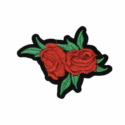 Red Double Rose Flower with green leaves (Iron On) Embroidery Applique Patch