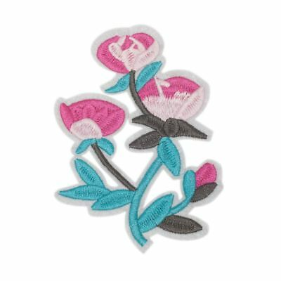 Blue Pink Flower (Iron On) Embroidery Applique Patch Sew Iron Badge