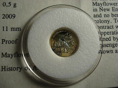 Mini 14Kt Solid Gold Coin Mayflower Ship& Pilgrims See Photo's