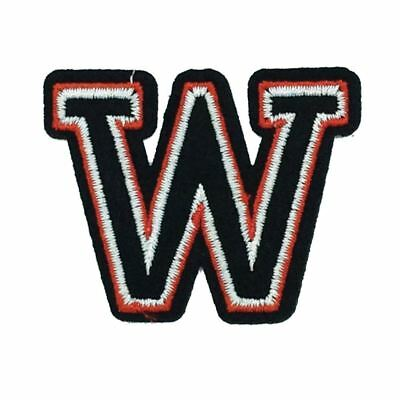 Black and Red Letter W (Iron On) Embroidery Applique Patch Sew Iron Badge