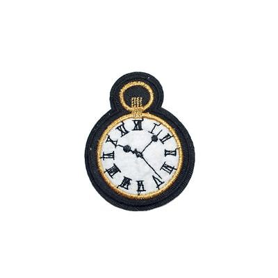 Pocket Watch (Iron on) Embroidery Applique Patch Sew Iron Badge