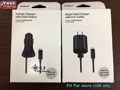 Verizon OEM Car Wall Home Charger Combo for Micro USB Galaxy J7 J7V S7 S7 Edge