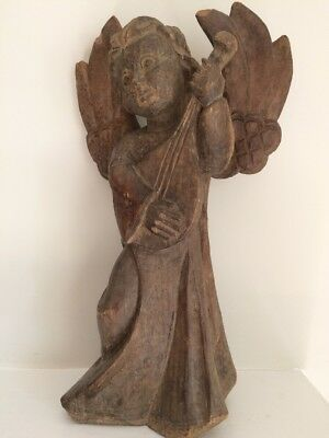 Antique Hand Carved Angel! Solid Wood - Absolutely Wonderful!! 19.5""