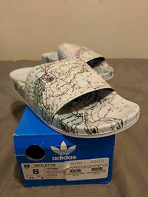 new product 48106 07ca2 Adidas Adilette x Eddie Huang F37688 World Map Sandals Slides Sz 8 Made in  Italy