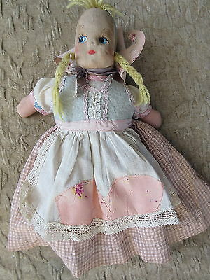 Old Vintage Cloth Doll Dutch Girl w/ Painted Face
