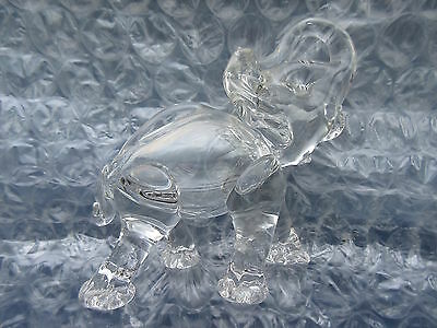 Old Vintage Handblown Clear Glass Elephant figurine