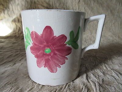 Antique Pottery Mug Tankard Handpainted Flowers