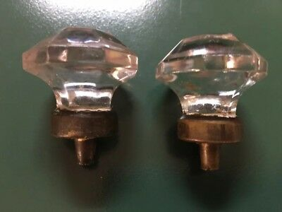 Set Of Two Vintage Glass Cabinet Knobs Drawer Pulls Hexagonal 1-1/4""