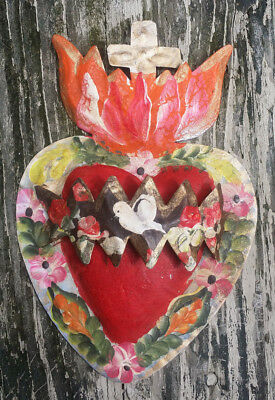 Heart, Cross & Banner Dove 3D Mexican Handmade Painted Tin Milagro 7.5x5x1 62
