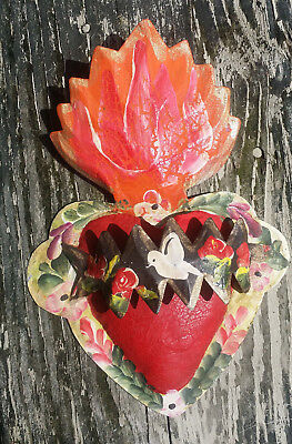 Heart & Banner Doves 3D Mexican Handmade Painted Tin Milagro 8x5.5x1 63