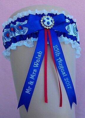 Glasgow Rangers Luxury Personalised Brides Wedding Garter with Lucky Sixpence