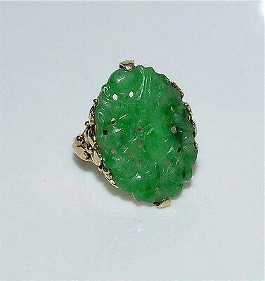 Vintage Chinese 14 Kt Gold and Natural Carved Apple Green Jadeite Ring Size 5