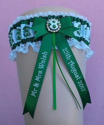 Hibernian Hibs Luxury Personalised Brides Wedding Garter with Lucky Sixpence