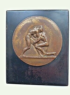 Antique Neo-Classical 19c Bronze Plaque Medallion Austrian Marks Men Wresting