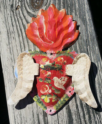 Corazon con Alas Heart Wings 3D Mexican Handmade Painted Tin Milagro 8x5.5x.5 71
