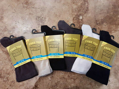 3-12 pk - Top Quality European Diabetic Non Elastic Non Binding Crew Socks