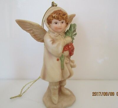 Schmid 1985 B. Shackman Girl Flowers  Angel Figurine Porcelain Ornament