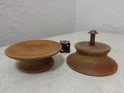 "vtg Wood Cabinet Dresser Drawer Knob Pull Wooden Maple Walnut 2.25"" Concave face"