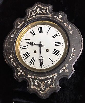 19th Century French Empire/Napoleon III Inlaid Mother of Pearl Wall Clock