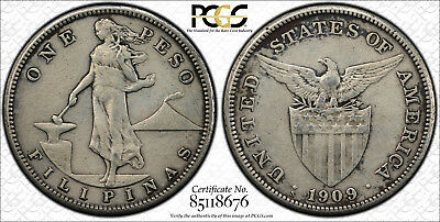US Philippines 1909-SSS One Peso A-17.04b PCGS VF Details ~CPPM~