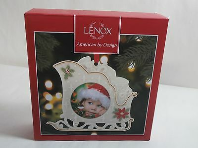 """Lenox Holiday Sleigh 4"""" Frame Ornament - New in Box"""