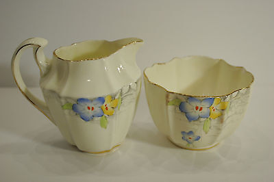 Paragon By Appointment Cream Jug and open sugar 1935. Blue yellow flowers 2303
