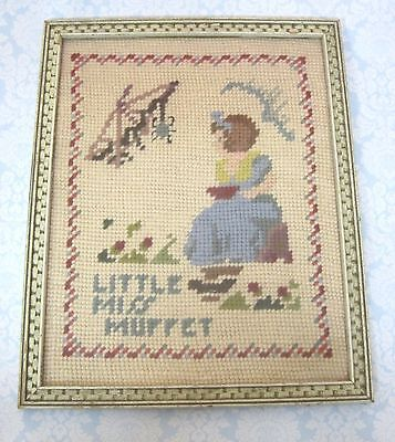 "Vintage Framed Needlepoint Little Miss Muffet w Spider 9 3/4 x 7 3/4 "" NICE!"