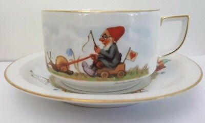 German Thomas / Rosenthal Prof. Paul Lothar Muller Gnome Soup Cup and Saucer
