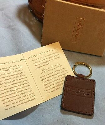 Longaberger Country Estates Collection Handmade Leather Key Chain Aniline Dyed