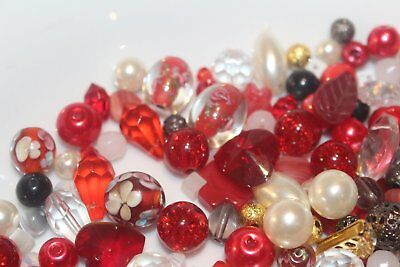 Red Glass Bead Mix in bag 200+ bulk beads,150+ gms, jewellery making, DIY, gift
