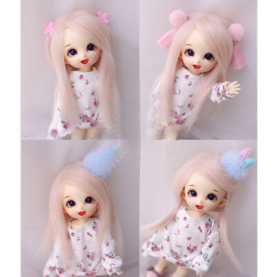 [wamami] For 1/8 PUKIFEE AE LATI BJD Dollfie Baby Pink Long WoolWig/Hair 14cm