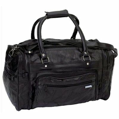 New Black GENUINE Leather Tote Bag Gym Duffle Travel Luggage Overnight Carry-on