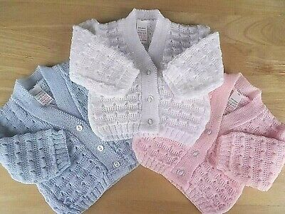 Baby Boy Girl White Pink Blue Knitted V-neck Cardigan 0-3-6-9m