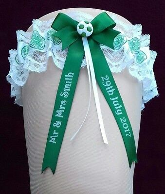 Personalised Wedding Garter in Celtic Colours with Lucky Sixpence