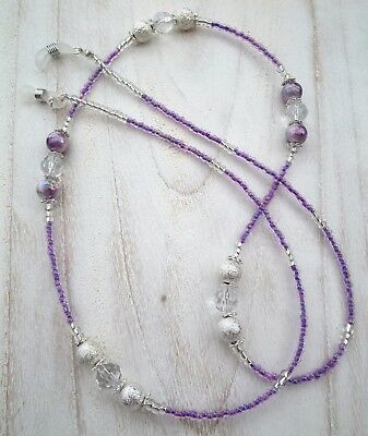 * Lavender Swirl * Glasses Chain  Spectacles Holder  Eyeglass Strap  Beaded Cord