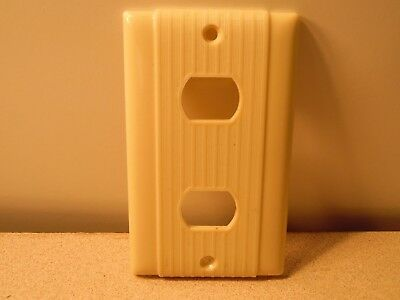Vintage Double Despard Switch Plate Bakelite? P&S / Uniline Ribbed & Striated