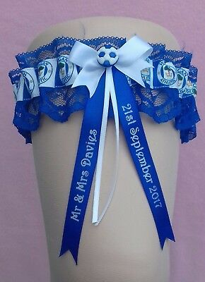 Personalised Wedding Garter in Wigan Athletic Colours with Lucky Sixpence