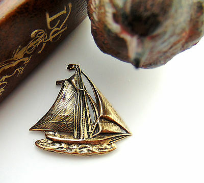 ANTIQUE BRASS (2 Pieces) SAILBOAT Boat Stamping Nautical Oxidized (FB-6075) *