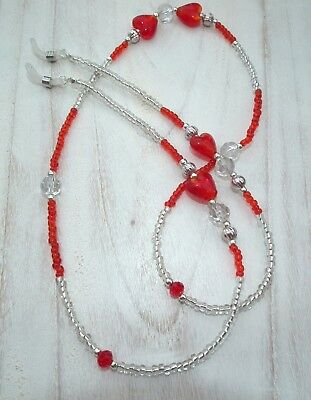 * Crystal Valentine * Glasses Chain Spectacles Holder Eyeglass Strap Beaded Cord