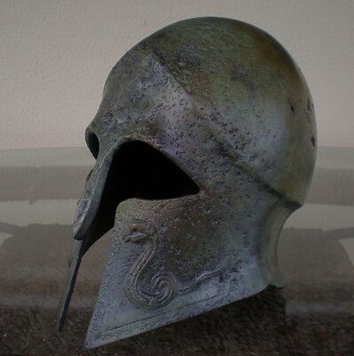 Greek Spartan Corinthian Bronze Small Helmet With Snakes - Antique Style