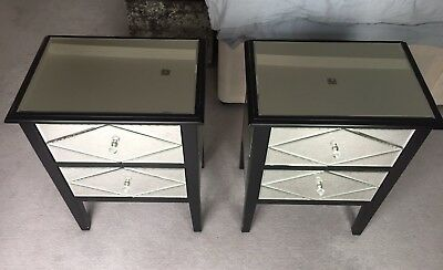 2 Bedside Tables Cabinets Chest Of Drawers Mirror Reflective Glass - London