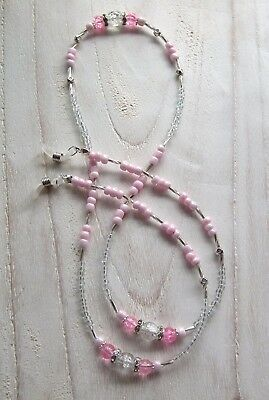 * Pink Crackle * Glasses Chain  Spectacles Holder  Eyeglass Strap  Beaded Cord