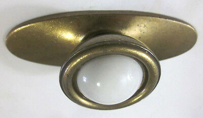 1 vintage National brass cabinet drawer door white porcelain pull knob backplate