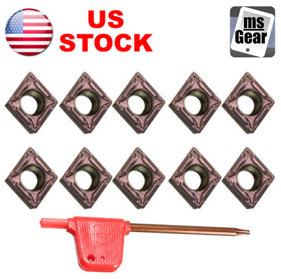 10Pcs CCMT060204 Carbide Inserts Blades for Turning Tool Boring Bar Lathe, US