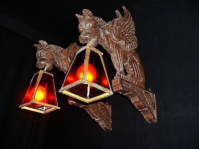 Antique 19th Century French wood dragon sconces with art and crafts shades