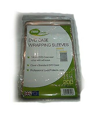Neo Serena Clear 14mm DVD Case Wrapping Sleeve Wraps - 200 PACK